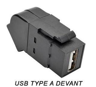 Connecteur USB 2.0 F/F Keystone coudé