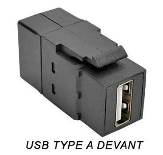 Connecteur USB 2.0 F/F Keystone Noir