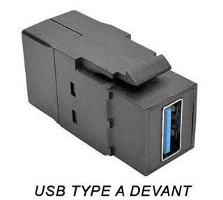 Connecteur USB 3.0 F/F Keystone Noir