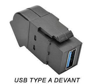 Connecteur USB 3.0 F/F Keystone coudé